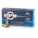 PPU 38 S&W 145 Grain Lead Round Nose Box Of 50