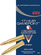 CCI 17 HMR Gamepoint 20gr Jacketed Soft Point Box of 50