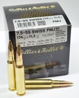 Sellier and Bellot 7.5x55 Swiss 174 Gr FMJ, 50 Rds