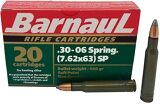 BarnauL Rifle Ammo - 30-06 Sprg (7.62x63mm), 140Gr, Soft Point, Brass Plated Steel Case, Non-Corrosive, 20rds Box