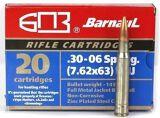 BarnauL Rifle Ammo - 30-06 Sprg (7.62x63mm), 145Gr, FMJ, Zinc Plated Steel Case, Non-Corrosive, 20rds Box