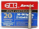 BarnauL Rifle Ammo - 30-06 Sprg (7.62x63mm), 168Gr, FMJ, Zinc Plated Steel Case, Non-Corrosive, 20rds Box